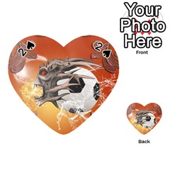 Soccer With Skull And Fire And Water Splash Playing Cards 54 (Heart)