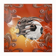 Soccer With Skull And Fire And Water Splash Medium Glasses Cloth (2 Side)