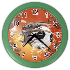 Soccer With Skull And Fire And Water Splash Color Wall Clocks