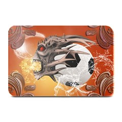 Soccer With Skull And Fire And Water Splash Plate Mats