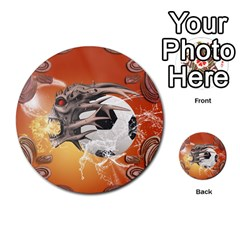 Soccer With Skull And Fire And Water Splash Multi-purpose Cards (Round)
