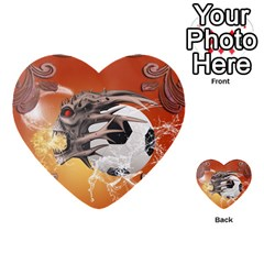 Soccer With Skull And Fire And Water Splash Multi Purpose Cards (heart)