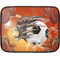 Soccer With Skull And Fire And Water Splash Double Sided Fleece Blanket (Mini)
