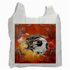 Soccer With Skull And Fire And Water Splash Recycle Bag (One Side)