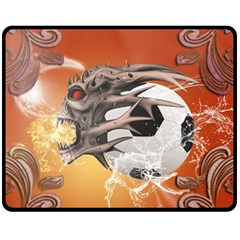 Soccer With Skull And Fire And Water Splash Fleece Blanket (Medium)