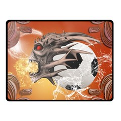 Soccer With Skull And Fire And Water Splash Fleece Blanket (small)