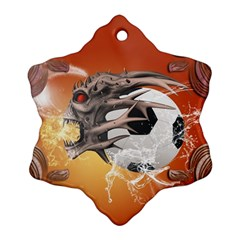 Soccer With Skull And Fire And Water Splash Snowflake Ornament (2 Side)