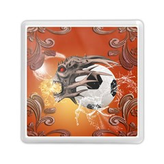 Soccer With Skull And Fire And Water Splash Memory Card Reader (Square)