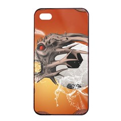 Soccer With Skull And Fire And Water Splash Apple iPhone 4/4s Seamless Case (Black)