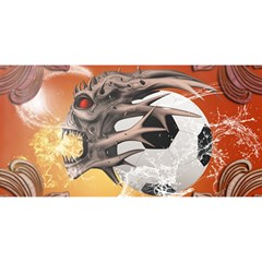 Soccer With Skull And Fire And Water Splash You Are Invited 3d Greeting Card (8x4)