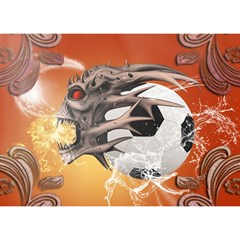 Soccer With Skull And Fire And Water Splash Birthday Cake 3D Greeting Card (7x5)