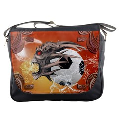 Soccer With Skull And Fire And Water Splash Messenger Bags