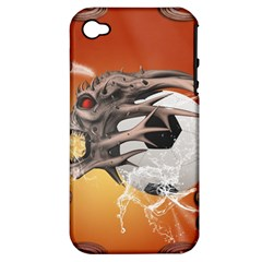 Soccer With Skull And Fire And Water Splash Apple iPhone 4/4S Hardshell Case (PC+Silicone)