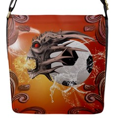 Soccer With Skull And Fire And Water Splash Flap Messenger Bag (S)