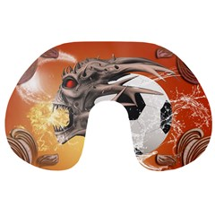 Soccer With Skull And Fire And Water Splash Travel Neck Pillows