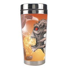 Soccer With Skull And Fire And Water Splash Stainless Steel Travel Tumblers