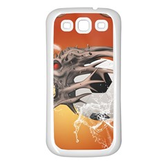 Soccer With Skull And Fire And Water Splash Samsung Galaxy S3 Back Case (White)