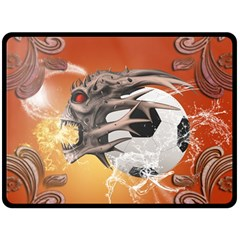 Soccer With Skull And Fire And Water Splash Double Sided Fleece Blanket (large)