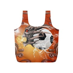 Soccer With Skull And Fire And Water Splash Full Print Recycle Bags (S)