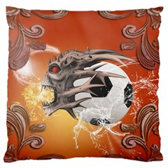 Soccer With Skull And Fire And Water Splash Large Flano Cushion Cases (Two Sides)