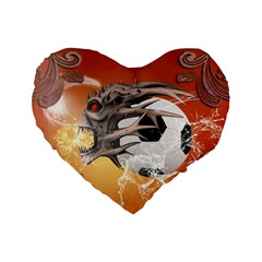 Soccer With Skull And Fire And Water Splash Standard 16  Premium Flano Heart Shape Cushions