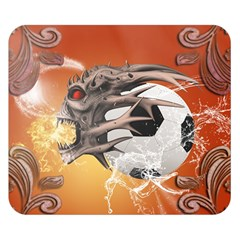 Soccer With Skull And Fire And Water Splash Double Sided Flano Blanket (Small)