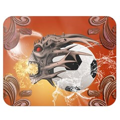 Soccer With Skull And Fire And Water Splash Double Sided Flano Blanket (Medium)