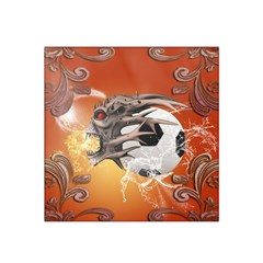Soccer With Skull And Fire And Water Splash Satin Bandana Scarf