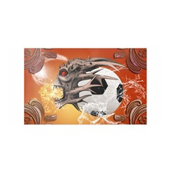 Soccer With Skull And Fire And Water Splash Satin Wrap