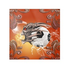Soccer With Skull And Fire And Water Splash Small Satin Scarf (square)