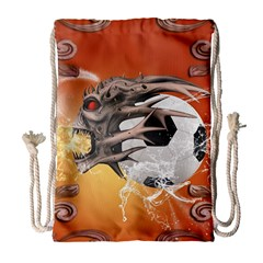 Soccer With Skull And Fire And Water Splash Drawstring Bag (Large)