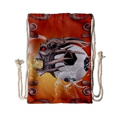 Soccer With Skull And Fire And Water Splash Drawstring Bag (Small)