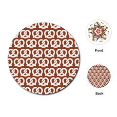 Brown Pretzel Illustrations Pattern Playing Cards (Round)
