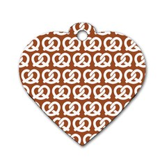 Brown Pretzel Illustrations Pattern Dog Tag Heart (Two Sides)