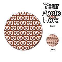 Brown Pretzel Illustrations Pattern Multi-purpose Cards (Round)