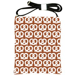 Brown Pretzel Illustrations Pattern Shoulder Sling Bags