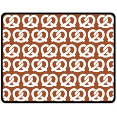 Brown Pretzel Illustrations Pattern Fleece Blanket (medium)