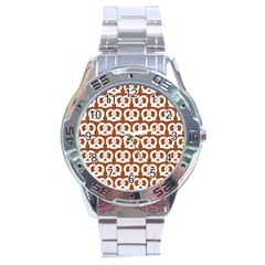 Brown Pretzel Illustrations Pattern Stainless Steel Men s Watch