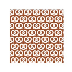 Brown Pretzel Illustrations Pattern Small Satin Scarf (Square)