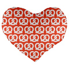 Coral Pretzel Illustrations Pattern Large 19  Premium Heart Shape Cushions