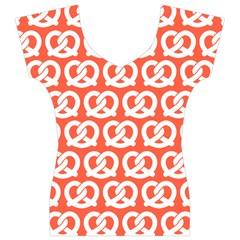 Coral Pretzel Illustrations Pattern Women s V-Neck Cap Sleeve Top