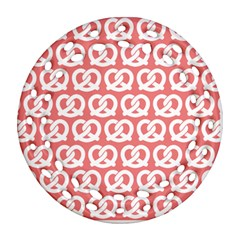 Chic Pretzel Illustrations Pattern Ornament (round Filigree)