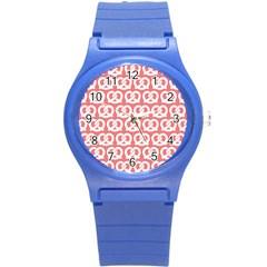 Chic Pretzel Illustrations Pattern Round Plastic Sport Watch (S)