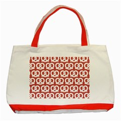 Trendy Pretzel Illustrations Pattern Classic Tote Bag (Red)