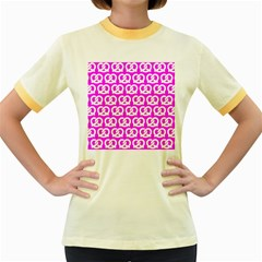 Pink Pretzel Illustrations Pattern Women s Fitted Ringer T-Shirts