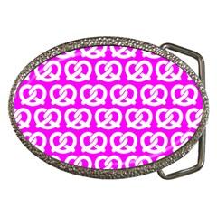 Pink Pretzel Illustrations Pattern Belt Buckles