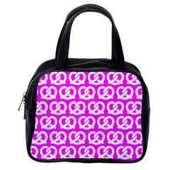 Pink Pretzel Illustrations Pattern Classic Handbags (One Side)