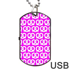 Pink Pretzel Illustrations Pattern Dog Tag USB Flash (Two Sides)