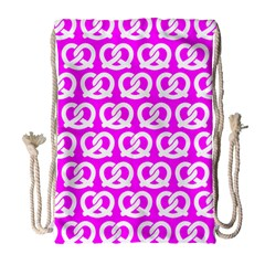 Pink Pretzel Illustrations Pattern Drawstring Bag (large)