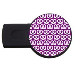Purple Pretzel Illustrations Pattern USB Flash Drive Round (1 GB)